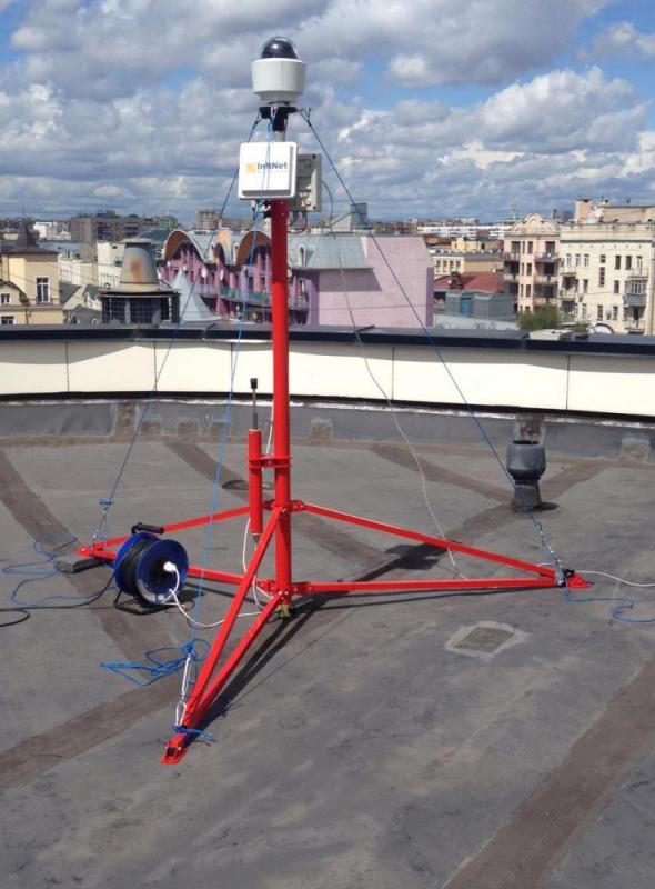 Мачта на  крыше московского офиса Лукойла